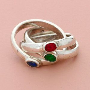 sterling silver red green & blue cz band ring